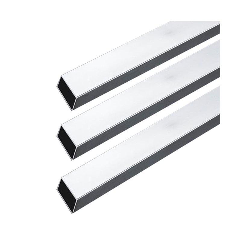 Barra tubo rectangular cromada, largo 300 cm