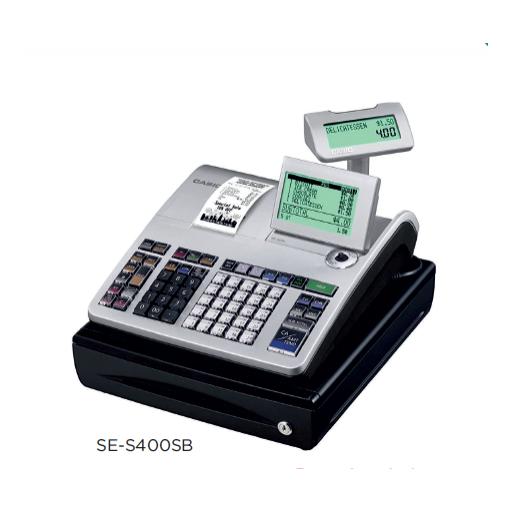 Registradora CASIO SE-S400 con factura simplificada, compatible tarjeta SD y conectividad a balanza y escáner modelo CH SE-S400SB-SR