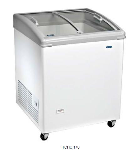 Congelador con puertas correderas de cristal curvo y perfil inclinado -18ºC / -24ºC modelo MQ TCHC170