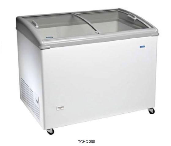 Congelador con puertas correderas de cristal curvo y perfil inclinado -18ºC / -24ºC modelo MQ TCHC300