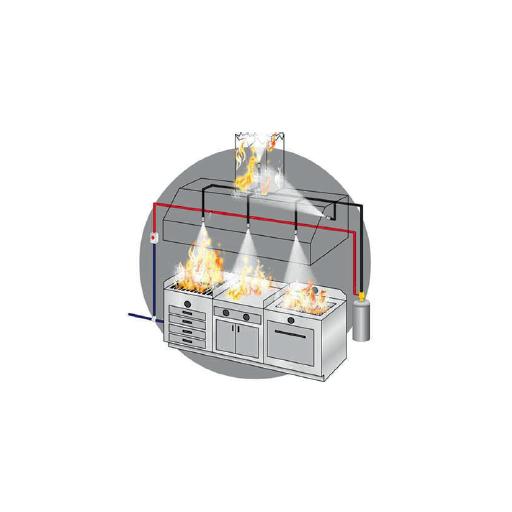 Sistema extinción de incendios campanas murales modelo CHEXT17