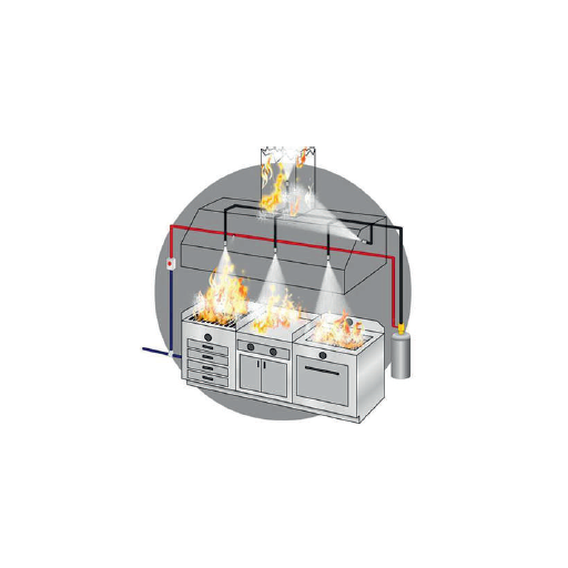 Sistema extinción de incendios campanas murales modelo CHEXT18