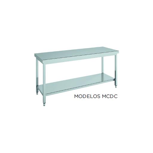 Mesa de trabajo central CON estante fondo 600 modelo CH MCDC96