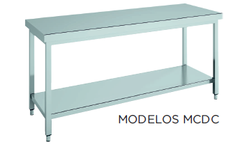 Mesa de trabajo central CON estante fondo 600 modelo CH MCDC146