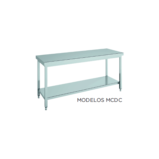Mesa de trabajo central CON estante fondo 600 modelo CH MCDC156