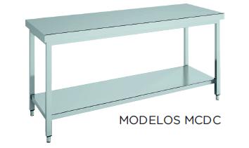 Mesa de trabajo central CON estante fondo 600 modelo CH MCDC166