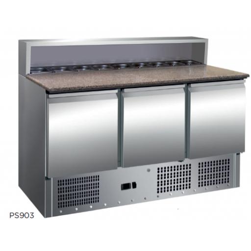 Mesa preparación ensaladas / pizza encimera de granito fondo 700 modelo CH PS903