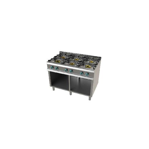 Cocina de 6 fuegos con mueble fondo 700 Mod.CHFO7N6OO