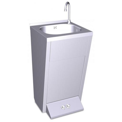 Lavamanos con pedestal y pulsador agua fría y caliente [1]