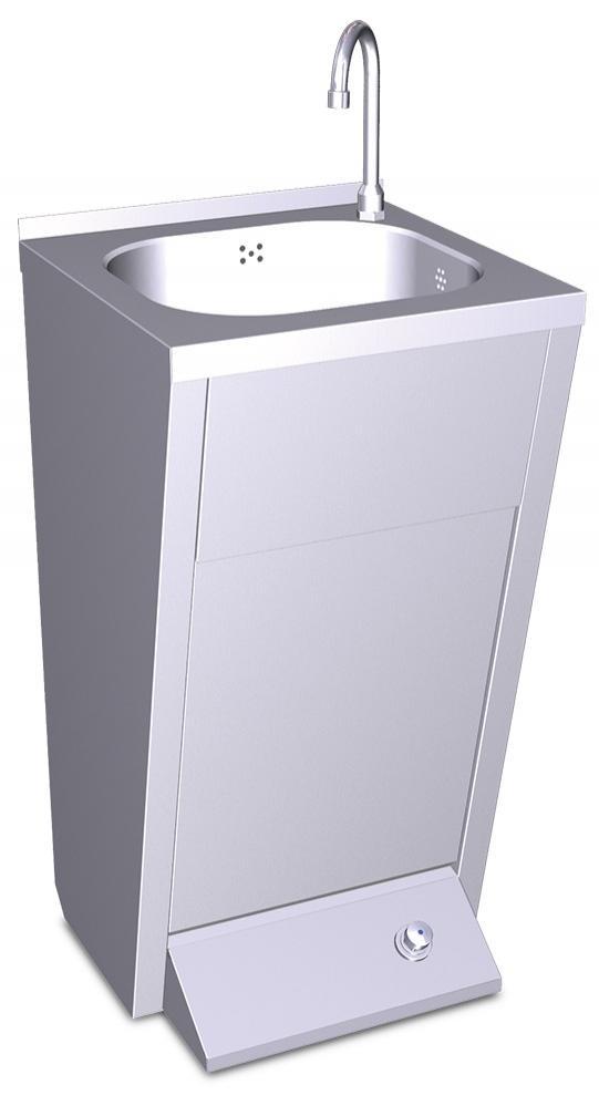 Lavamanos con pedestal y pulsador agua fría y caliente
