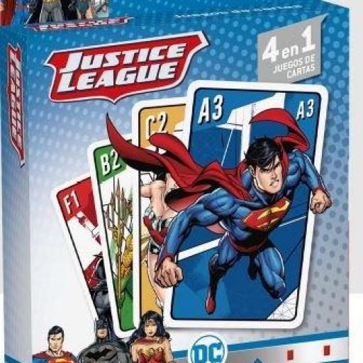 4 juegos de cartas en 1 de La liga de la justicia