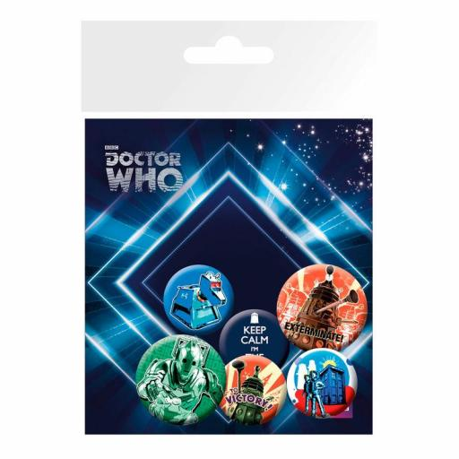 Lote de 6 CHAPAS DOCTOR WHO