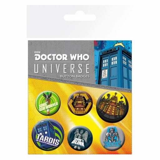 Lote de 6 chapas Alien Adventures Doctor Who
