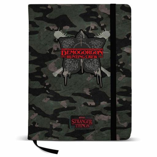 Cuaderno diario de Stranger things con diseño de demogorgon