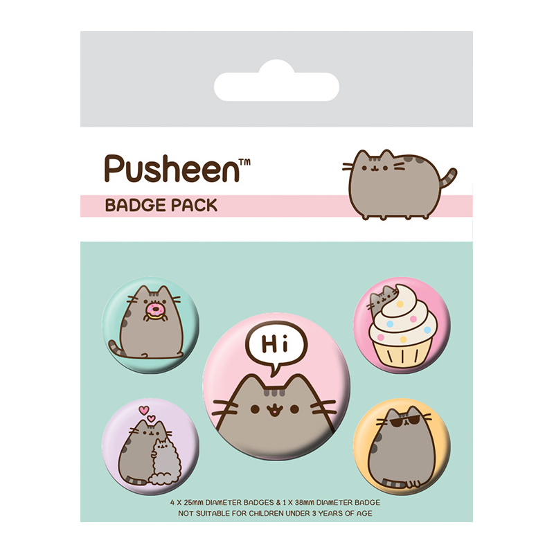 Set de Chapas Licencia Pusheen Pusheen says Hi