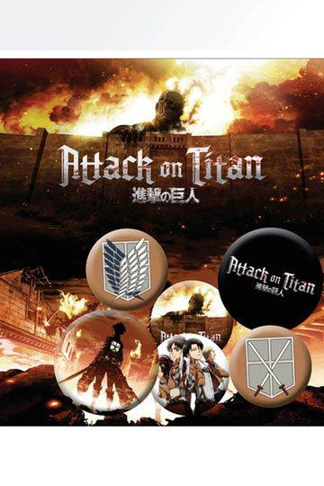 Pack 6 chapas Attack on Titan Characters