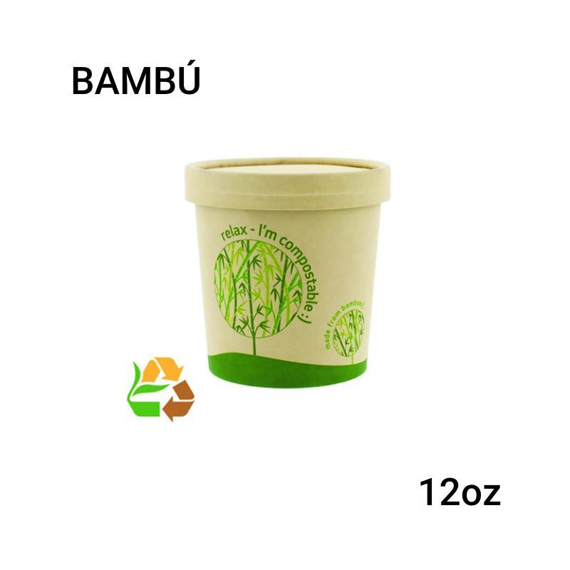Soup cup bambú 12oz 250 unidades con tapa
