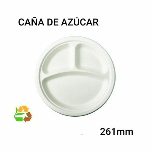 Plato compartimentos 500 unidades caña de azúcar [0]