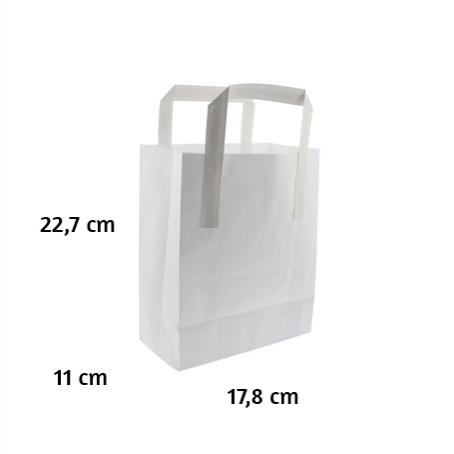 Bolsa papel blanca 250 uds. 17,8x11x22,7 cm