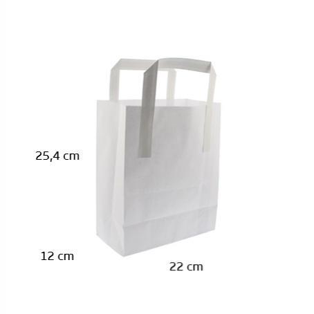 Bolsa papel blanca 125 uds 22x12x25,4 cm