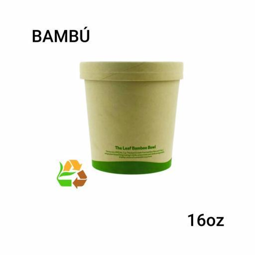 Soup cup bambú 16oz 250 unidades con tapa