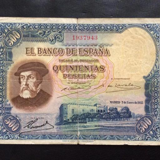 500 PESETAS 7 ENERO 1935 - II REPUBLICA - HERNÁN CORTÉS - ESCASO