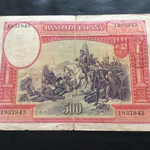 500 PESETAS 7 ENERO 1935 - II REPUBLICA - HERNÁN CORTÉS - ESCASO  [1]