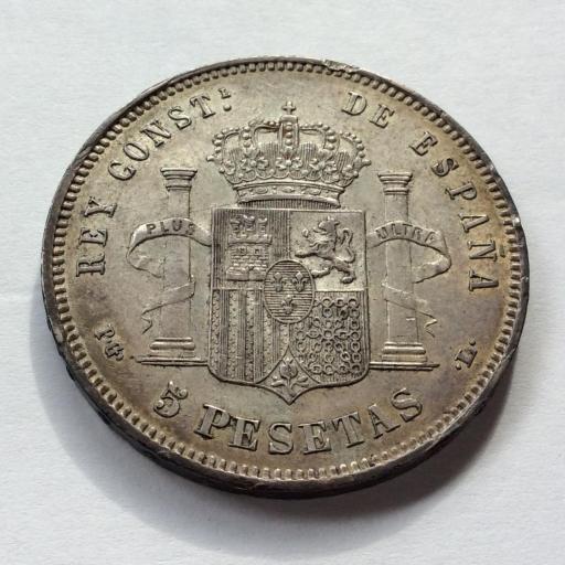 5 PESETAS PLATA 1893 - PGL - ALFONSO XIII - PRECIOSA PATINA DORADA  [1]