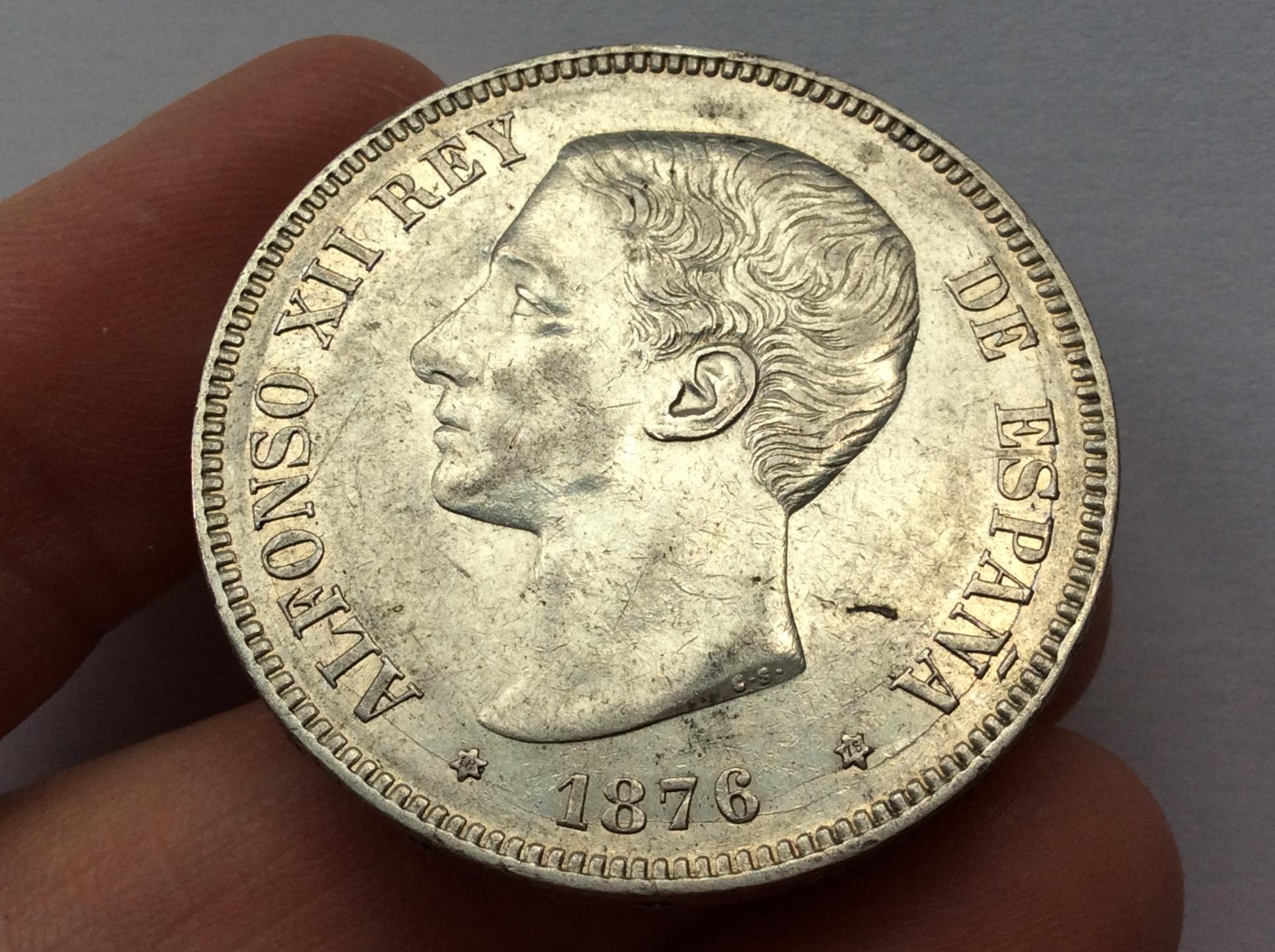 5 PESETAS PLATA 1876 *18*76 - ALFONSO XII