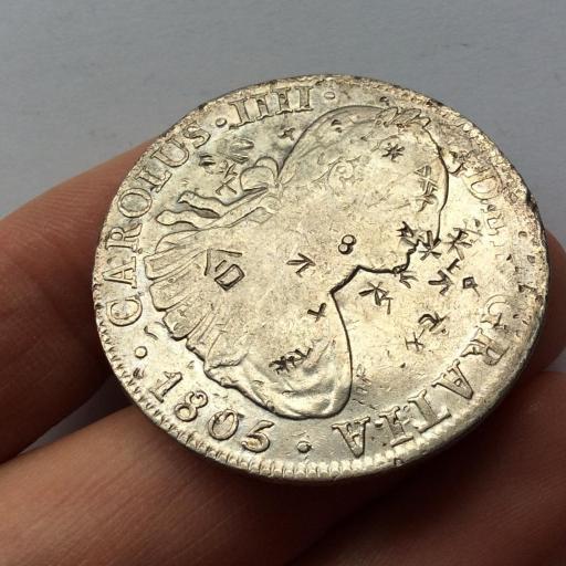 8 REALES PLATA 1805 - MEXICO - CARLOS IV - RESELLOS ORIENTALES DE AUTENTIFICACION  [1]