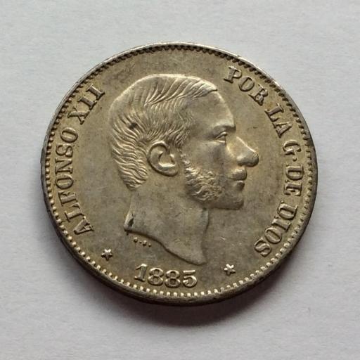 50 CENTAVOS PLATA 1885 - REINADO DE ALFONSO XII EN FILIPINAS - SIN CIRCULAR [3]