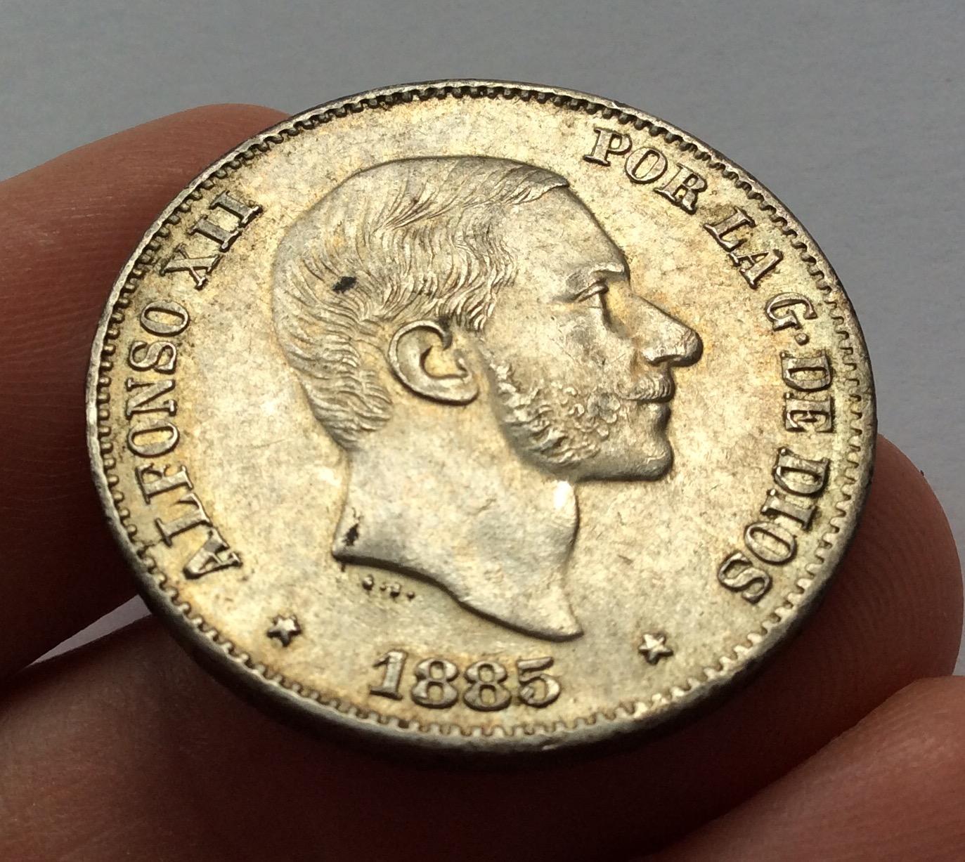 50 CENTAVOS PLATA 1885 - REINADO DE ALFONSO XII EN FILIPINAS - SIN CIRCULAR