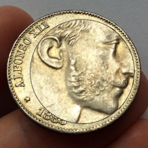 50 CENTAVOS PLATA 1885 - REINADO DE ALFONSO XII EN FILIPINAS - SIN CIRCULAR [1]