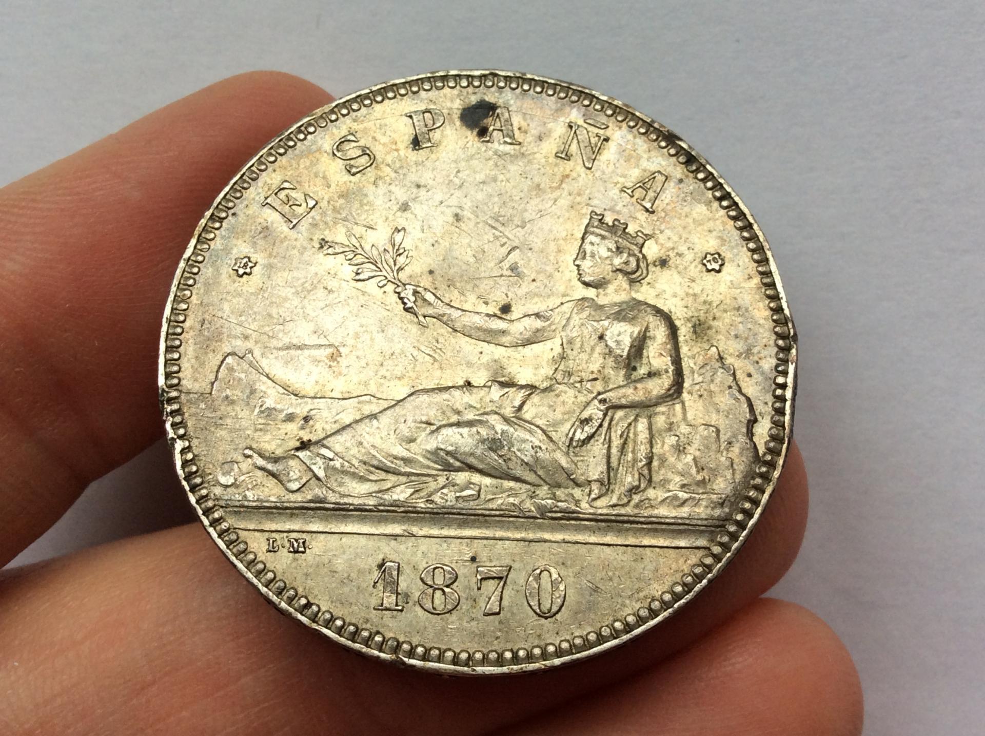 5 PESETAS PLATA 1870 - GOBIERNO PROVISIONAL - DAMA SENTADA