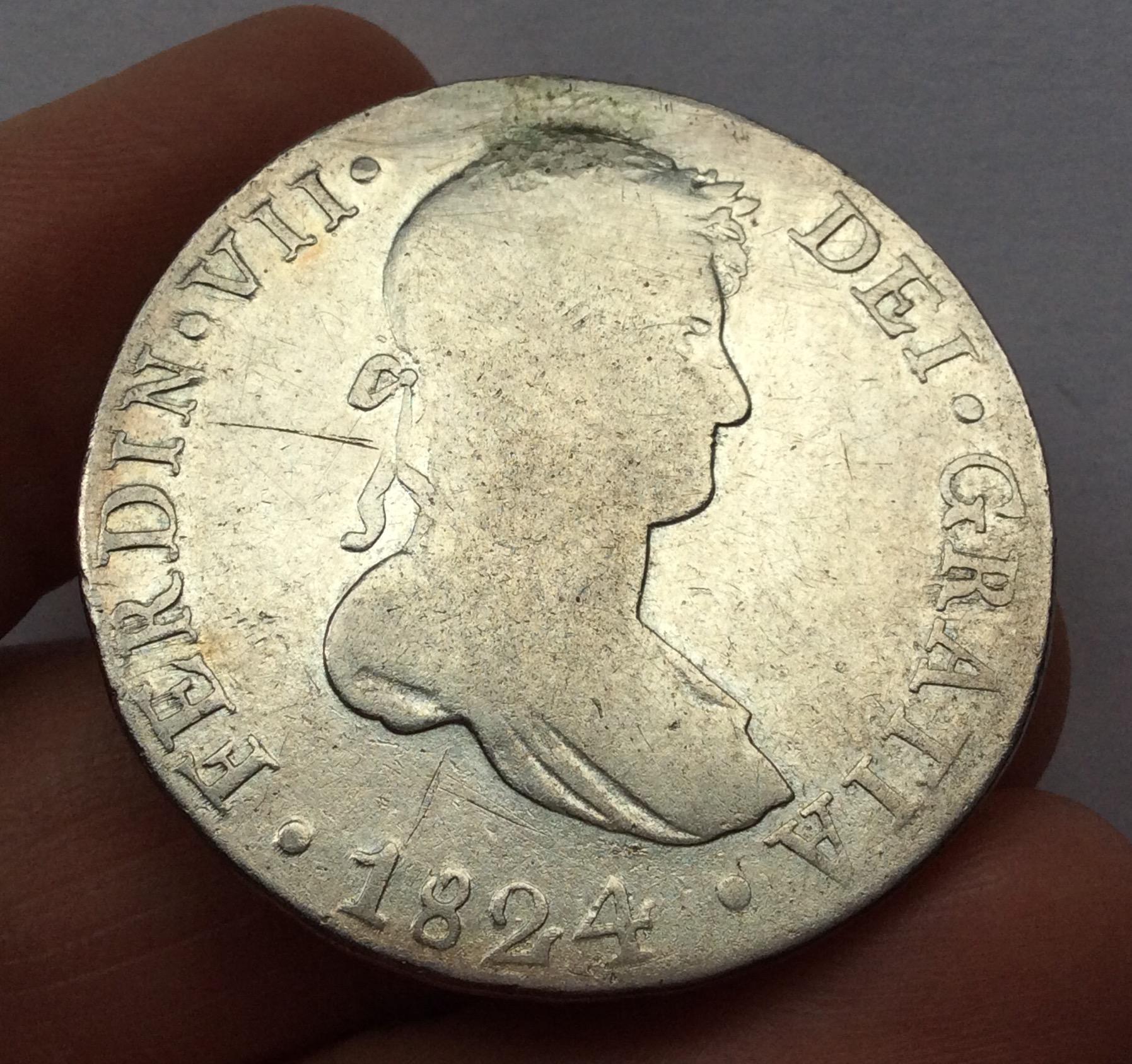 8 REALES PLATA 1824 - CUZCO - FERNANDO VII - MUY ESCASA