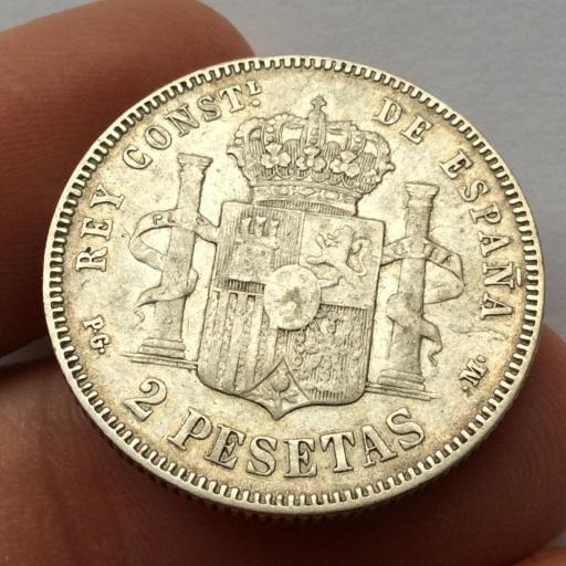 2 PESETAS PLATA 1891 *18 *91 - ALFONSO XIII - ESCASA  [1]