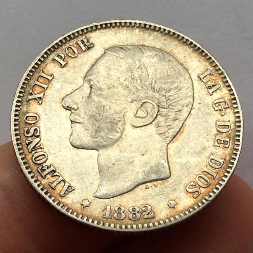 2 PESETAS PLATA 1882 - ALFONSO XII - BUENA PATINA