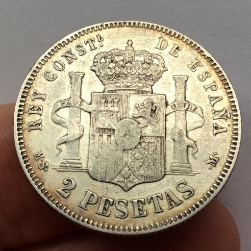 2 PESETAS PLATA 1882 - ALFONSO XII - BUENA PATINA  [1]