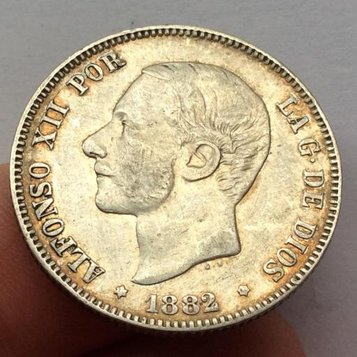 2 PESETAS PLATA 1882 - ALFONSO XII - BUENA PATINA  [2]