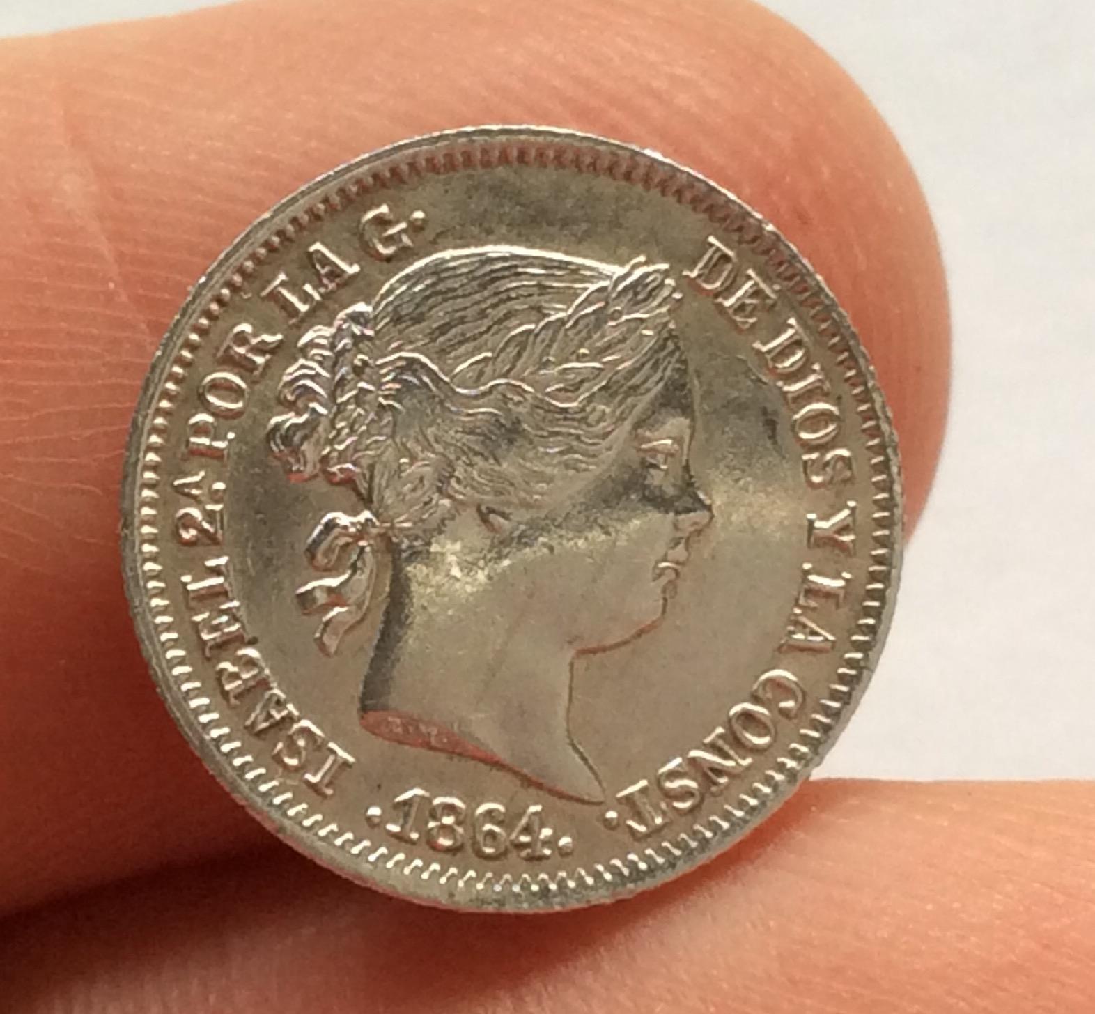 1 REAL PLATA 1864 - MADRID - ISABEL II - SIN CIRCULAR