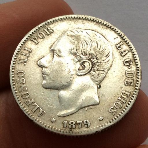 2 PESETAS PLATA 1879 - ALFONSO XII - ESCASA VARIANTE OREJA RAYADA  [1]