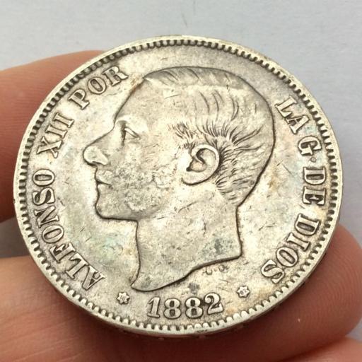 5 PESETAS 1882 *18 *81 - ALFONSO XII - VARIANTE DE ESTRELLA
