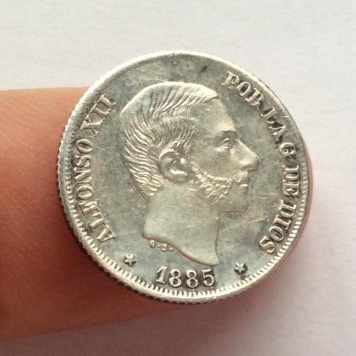 10 CENTAVOS DE PESO DE 1885 DE ALFONSO XII - ACUÑADOS EN FILIPINAS - SIN CIRCULAR  [1]