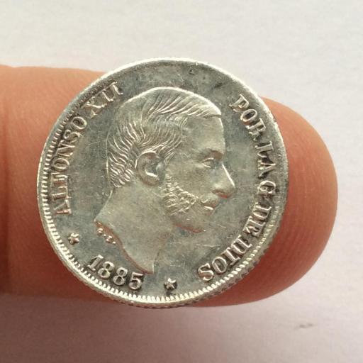 10 CENTAVOS DE PESO DE 1885 DE ALFONSO XII - ACUÑADOS EN FILIPINAS - SIN CIRCULAR
