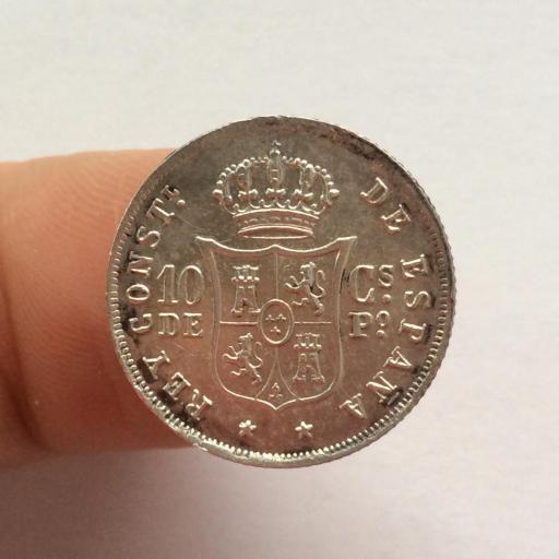 10 CENTAVOS DE PESO DE 1885 DE ALFONSO XII - ACUÑADOS EN FILIPINAS - SIN CIRCULAR  [2]