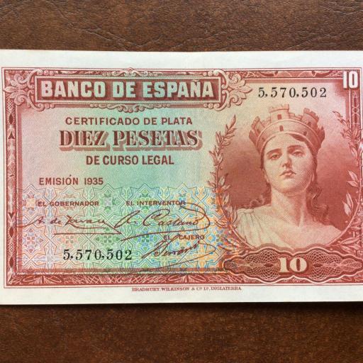 10 PESETAS 1935 - SIN SERIE - II REPUBLICA - (SIN CIRCULAR-)