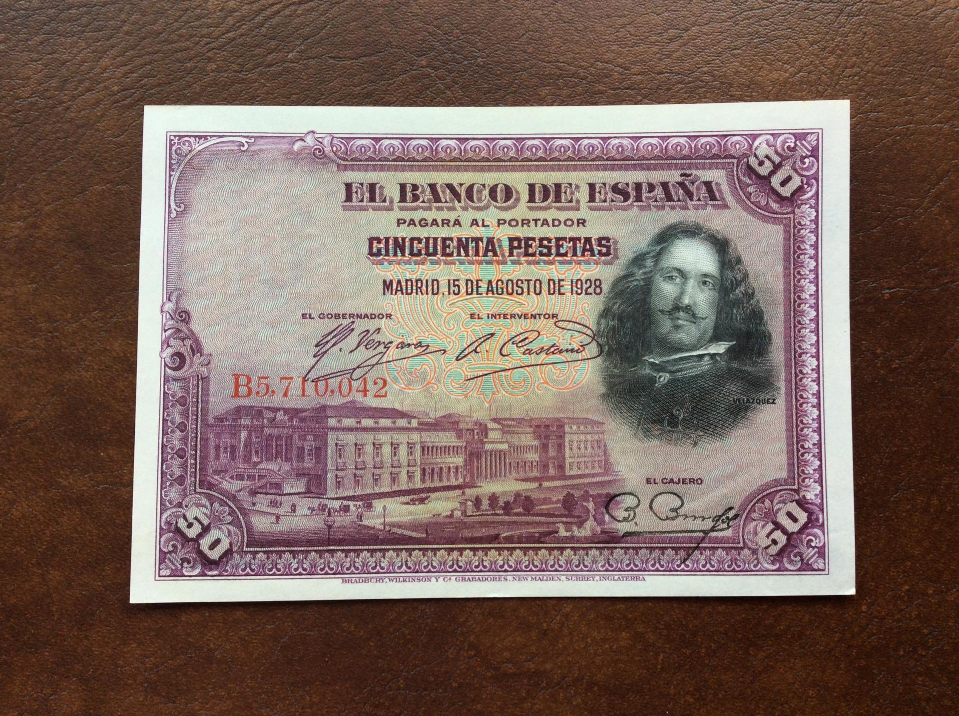 50 PESETAS 1928 - SIN CIRCULAR - ALFONSO X EL SABIO