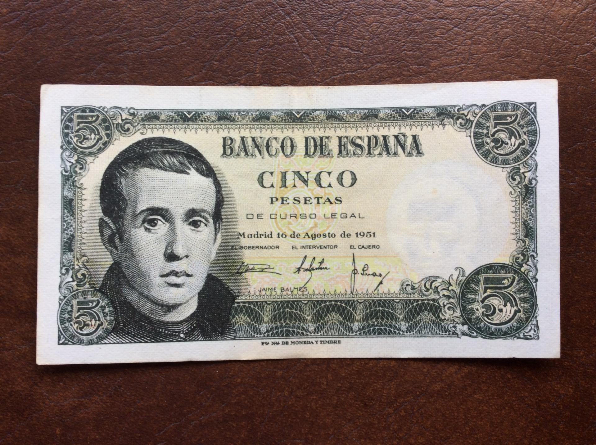 5 PESETAS 1951 - EBC - JAIME BALMES