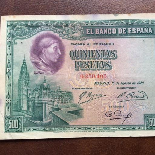 500 PESETAS 1928 - CARDENAL CISNEROS