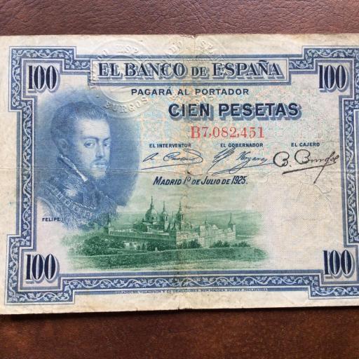100 PESETAS 1925 - FELIPE II - MUY RARO CON 3 SELLOS EN SECO - MUY ESCASO (LEER)